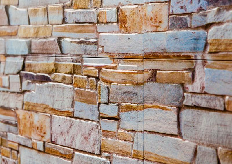 Tinplate wall tile with stone wall look - null