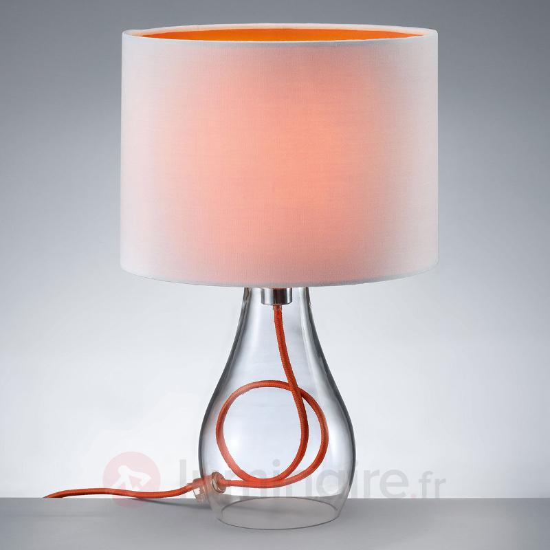 Lampe à poser Naila, abat-jour orange-blanc - Lampes à poser en tissu