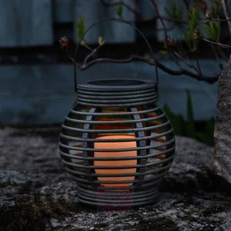 White solar light Lantern in rattan look with LED - outdoor-led-lights