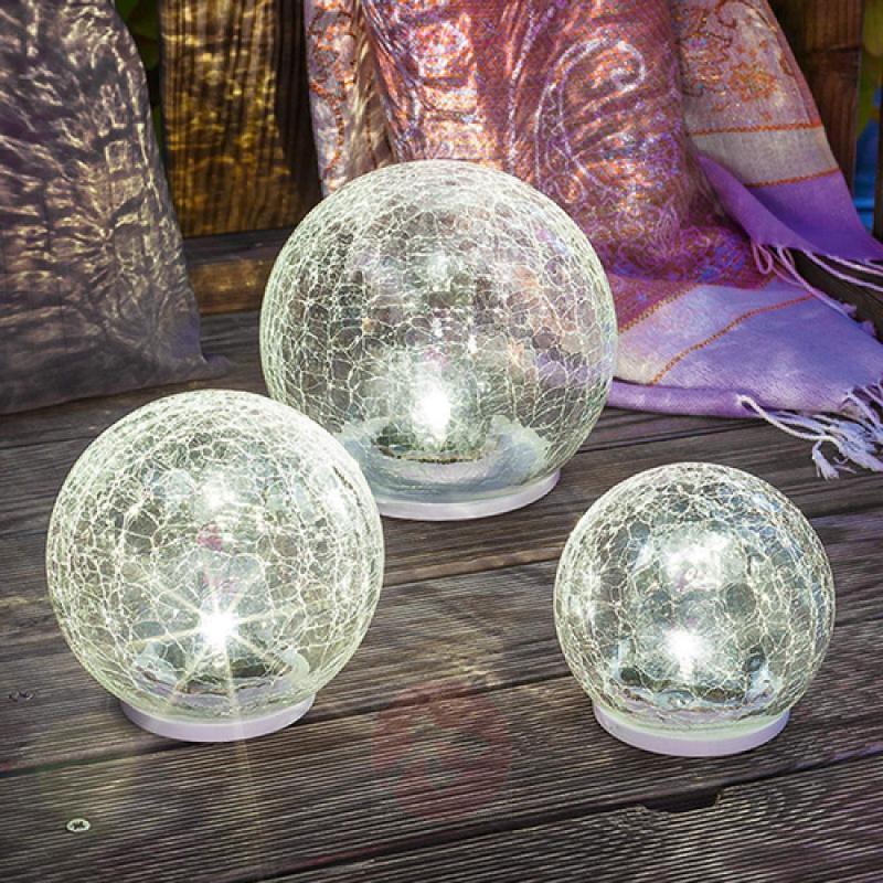 LED solar light set Crackle Ball, set of 3 - outdoor-led-lights