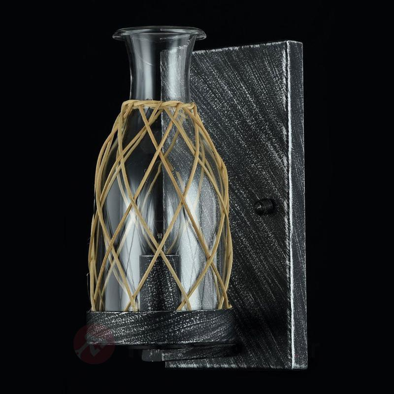 Applique Rappe en verre avec tressage en rotin - Appliques rustiques