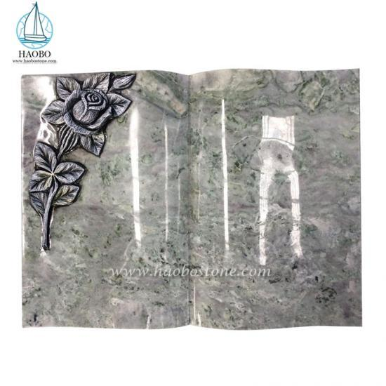 Haobo Stone Granite Gravestone Flower Carved Book Monuments - Book And Heart