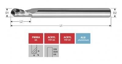 Milling Tools: for PMMA- and PC-plastics - solid carbide ball nose end mill, with single flute