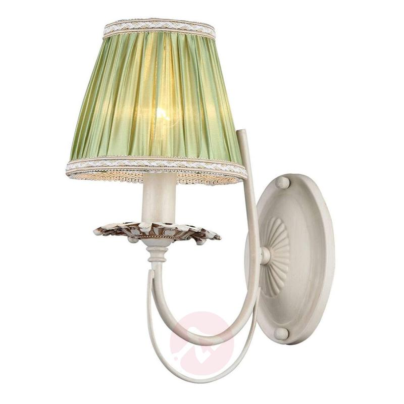 With green satin lampshade – Olivia wall light - indoor-lighting