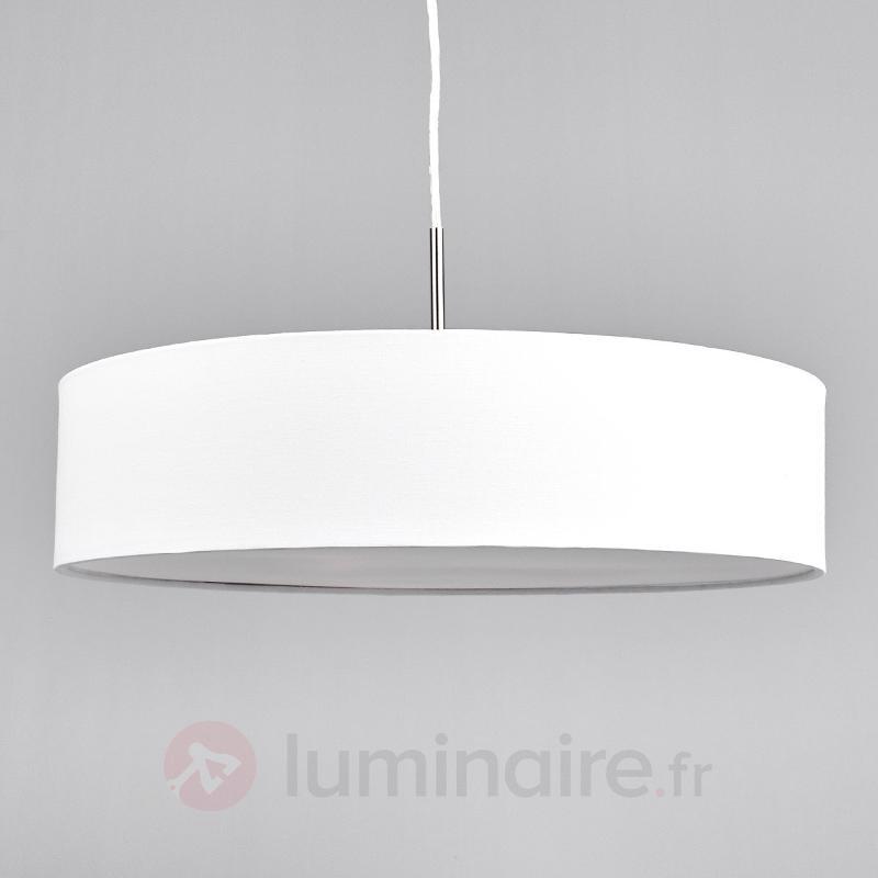 Suspension LED Sebatin en tissu blanc - Suspensions en tissu