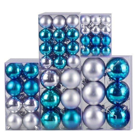 Weihnachtskugel 120-teiliges Set Farbe: Aqua / Silber - null
