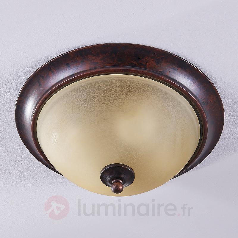 Plafonnier Svera style champêtre, aspect rouille - Plafonniers rustiques