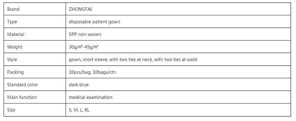 Vestido de manga corta para el paciente -