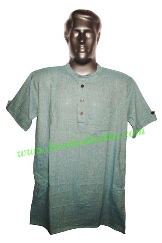 half sleeve long khadi yoga kurta, size : chest 46 x height  - half sleeve long khadi yoga kurta, size : chest 46 x height 34 inches (medium).
