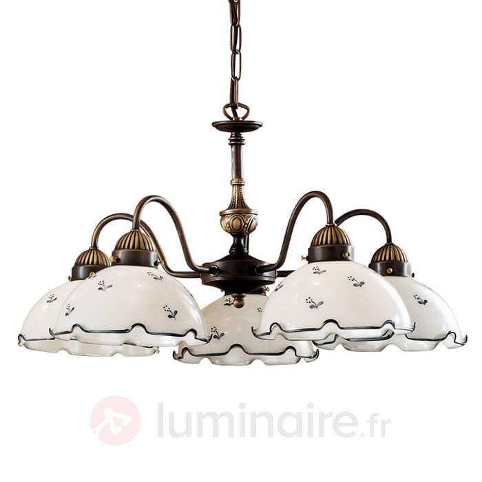 Lustre à 5 lampes Nonna blanc-bleuté - Suspensions rustiques