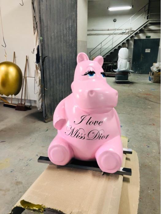 Hippopotame en résine  - Statue hippopotame en résine grandeur nature 180 cm x 90 cm