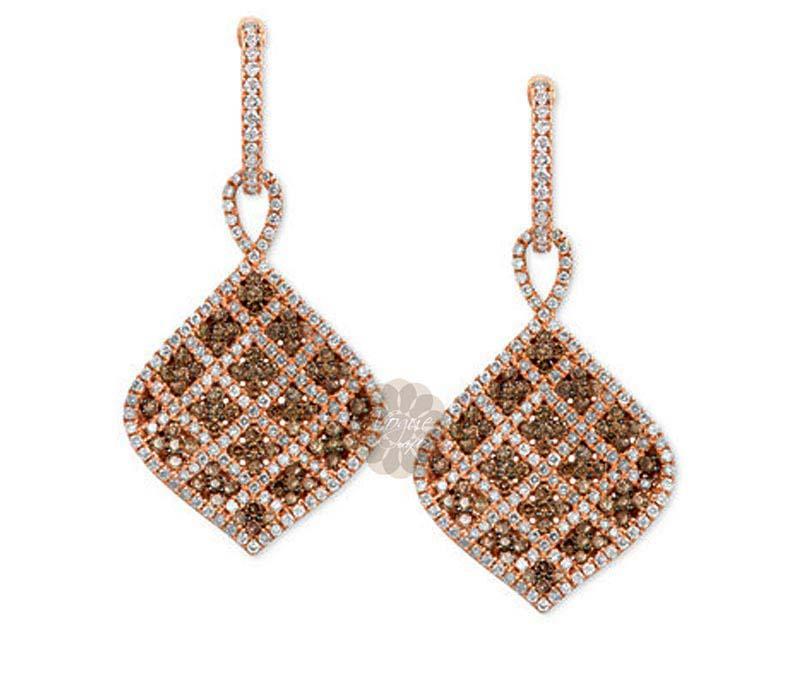 Rose Gold Diamond Earrings -