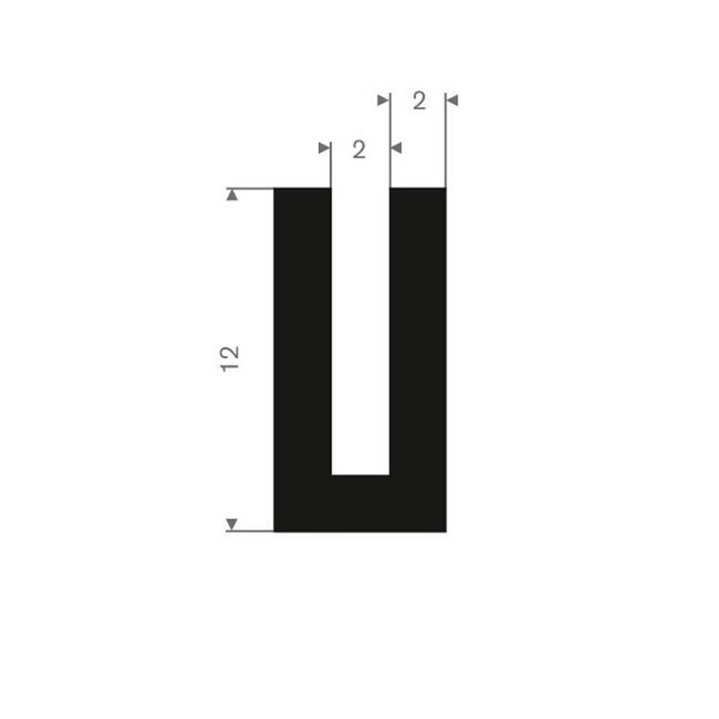 Vollgummi U-Profil 2mm / BxH=6x12mm - Gummiprofile