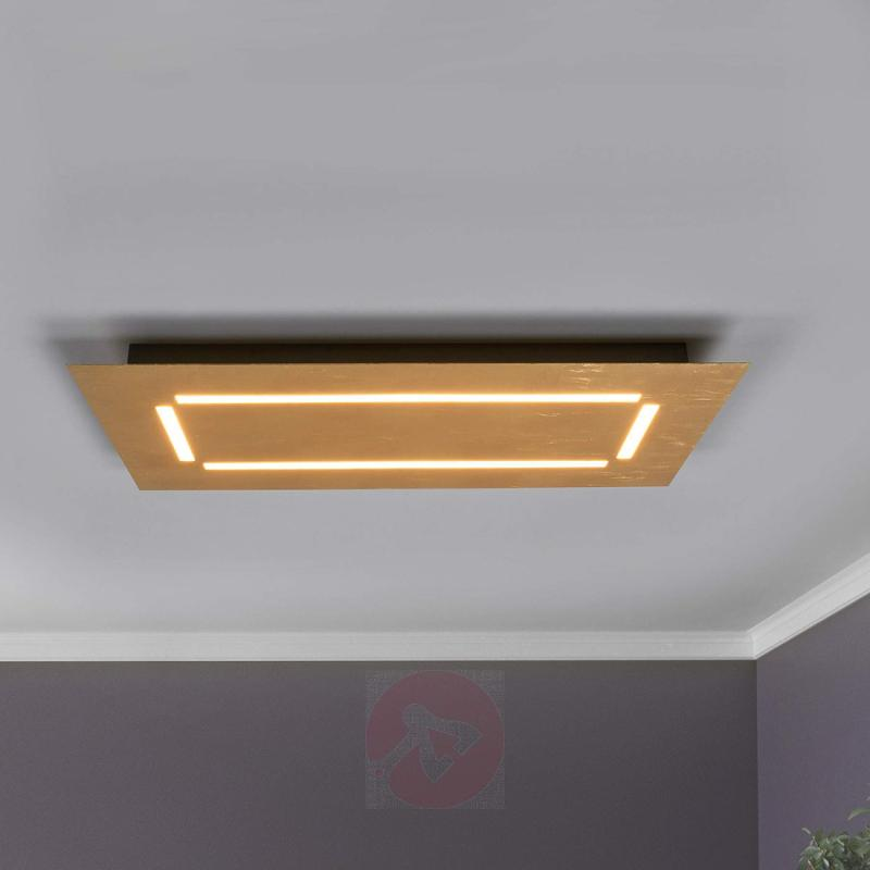 Square LED ceiling lamp Banu, gold finish - indoor-lighting