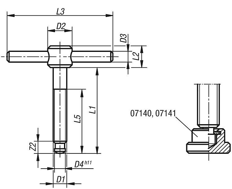 T-thrust Screws With Fixed Or Sliding T-bar, Din 6304 Or Din 6306 - Operating parts