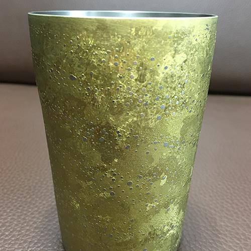 Taza de titanio - Titanio puro, Copa doble de anodizado de grano grueso, 70x105 mm, 380 ml