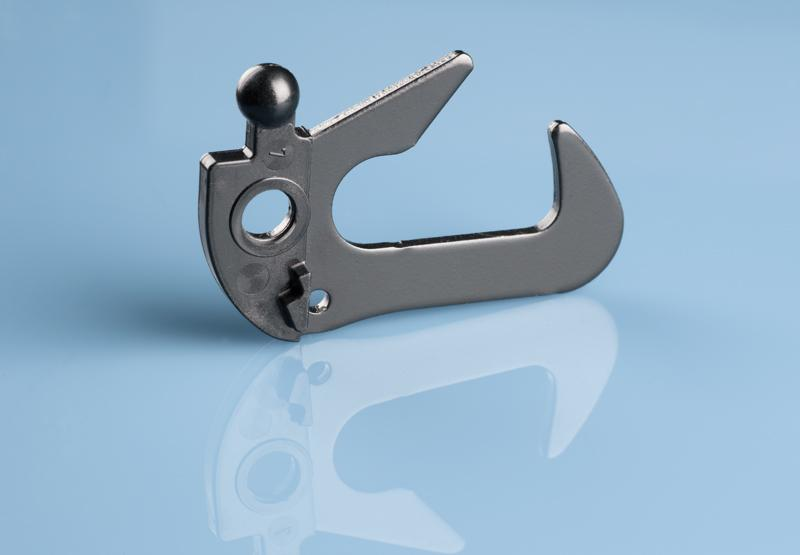 Hook for tail gate locking system (partial plastic coated) - Plastic coating