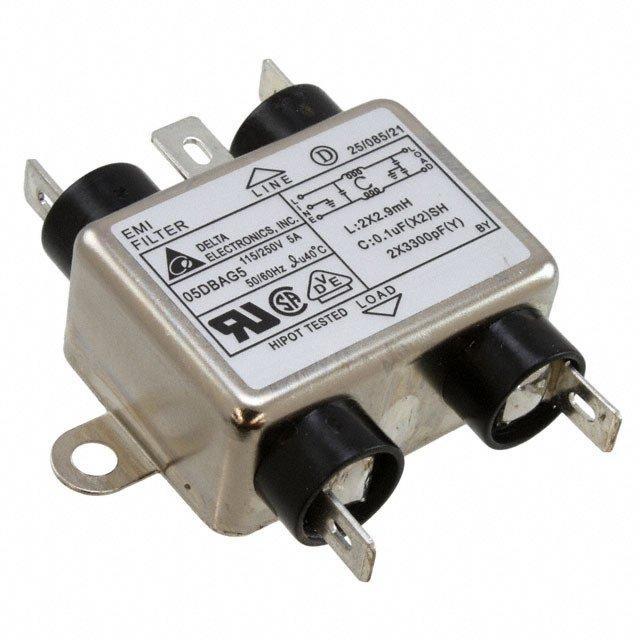LINE FILTER 115/250VAC 5A CHAS - Delta Electronics 05DBAG5