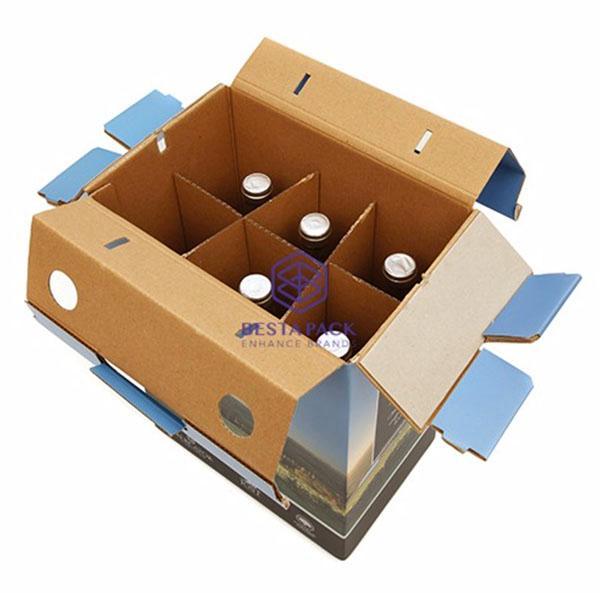 Scatola di trasporto del vino - Maniglia integrata, distanziali rinforzati e inserti ondulati