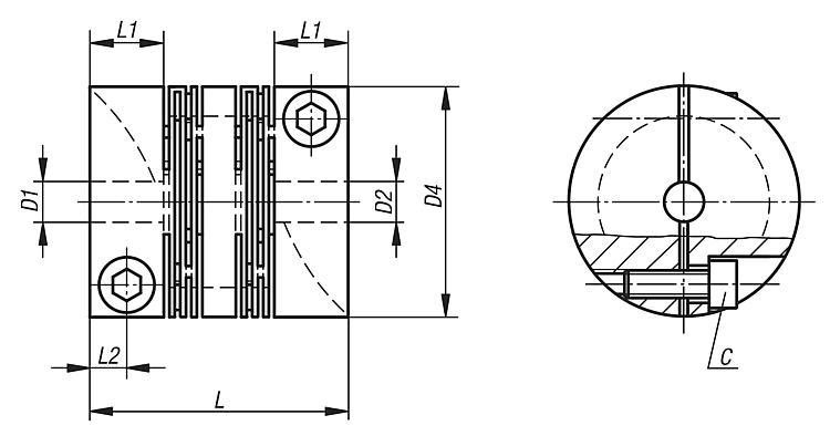 Beam couplings with radial clamping hub, stainless steel - Couplings