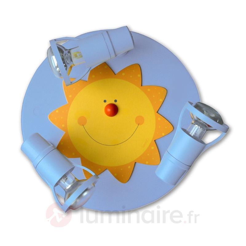 Amusant plafonnier SONNE bleu clair 3 lampes - Chambre d'enfant