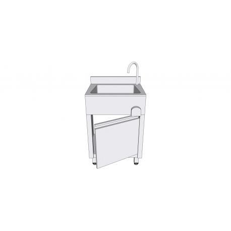 Lave-mains en inox sur armoire à porte battante - Lave-mains inox