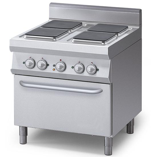 Cooking line 900 First Choice - electric range, 4 square plates, 1 electric convection oven