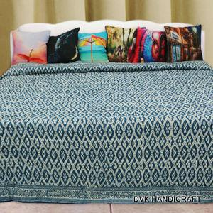 Indigo blue cotton quilt, india handmade kantha quilt