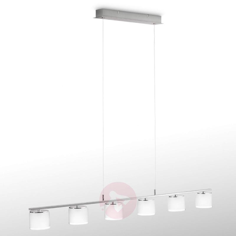 Glossy chrome LED linear pendant light Byzantin - indoor-lighting