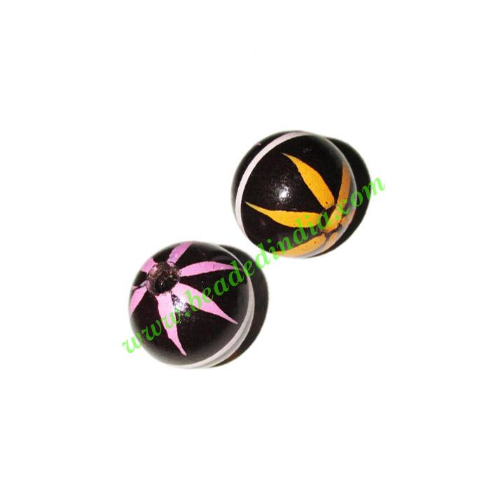 Wooden Painted Beads, Fancy Design Hand-painted beads, size  - Wooden Painted Beads, Fancy Design Hand-painted beads, size 17mm, weight approx