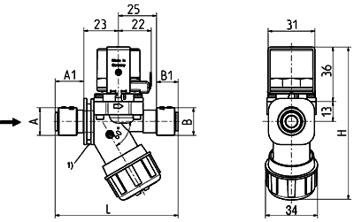 Servo-controlled solenoid valve NC, DN 7 - 44.007.126
