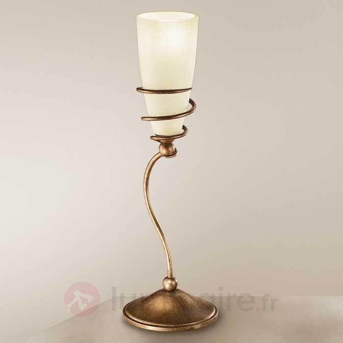 Lampe à poser Daniele laiton antique - Lampes à poser rustiques