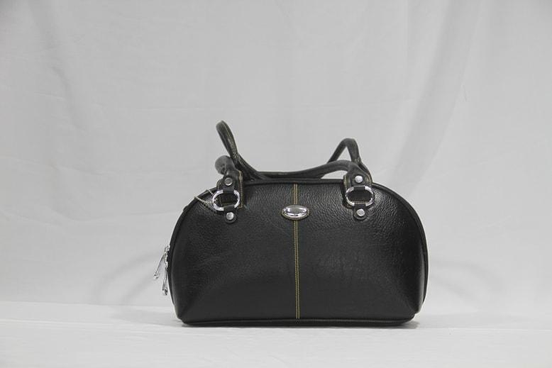 Stylish black colored baguette handbag