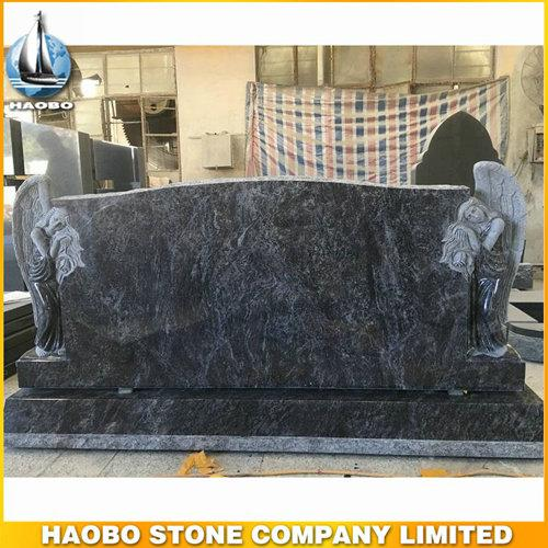 Bahama Blue Granite Double Angel Headstone For Sale - Carved Double Angel Headstone, with made in Bahama Blue granite by Haobo stone.