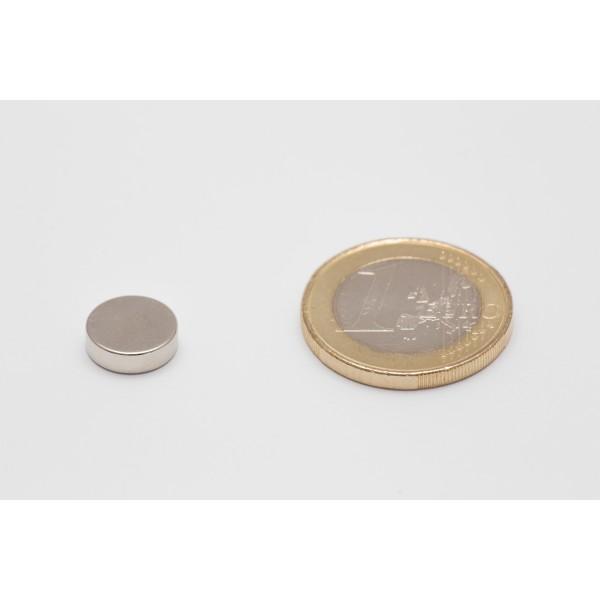Neodymium disc magnet 10x3mm, N45, Ni-Cu-Ni, Nickel coated - Disc