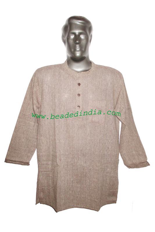 full sleeve long khadi yoga kurta, size : chest 46 x height  - full sleeve long khadi yoga kurta, size : chest 46 x height 34 inches (medium).