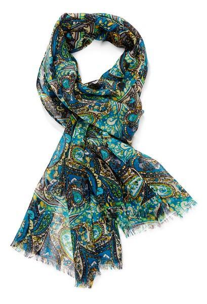 Echarpe laine imprimée cachemire - col 3 – vert