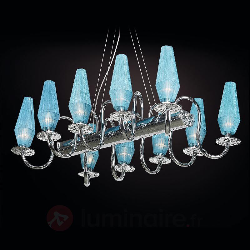 Lustre Karma à 10 lampes turquoise - Lustres designs, de style