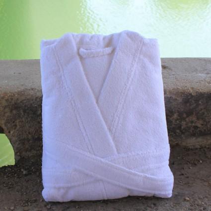 Linge de bain : serviettes et peignoirs - Peignoir éponge blanc Soma forme Kimono