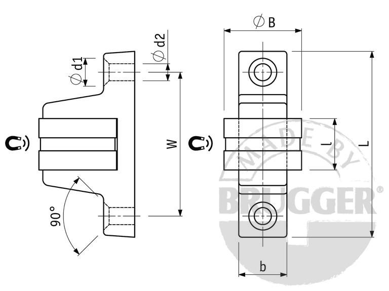 Magnetic door catch, with round contact poles and a... - null