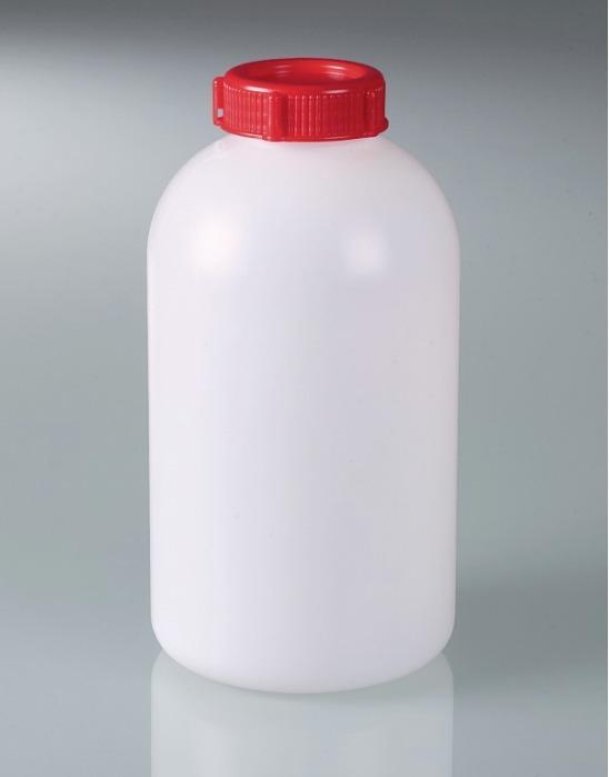 Flacon à col large, plombable - Bouteille en plastique avec oeillets de fermeture, HDPE, transport d'échantillon