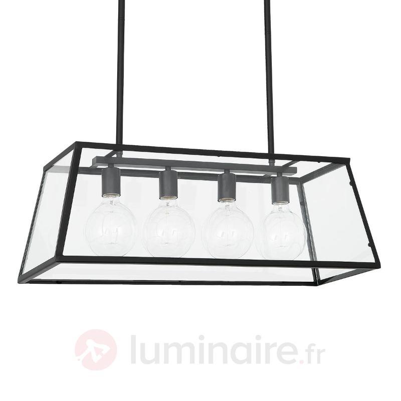 Suspension Rose quatre lampes au look industriel - Suspensions en verre