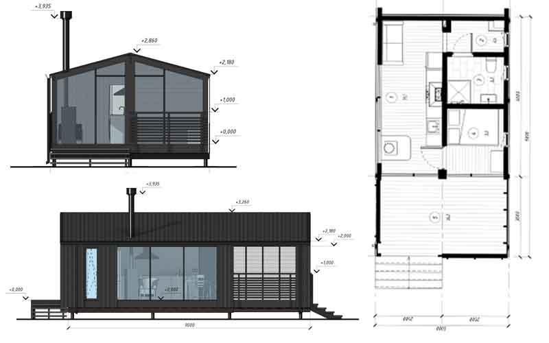 Модульный дом DUBLHAUS  26 - Модульный быстровозводимый дом 26 м2, рассчитанный на перевозку в готовом виде.