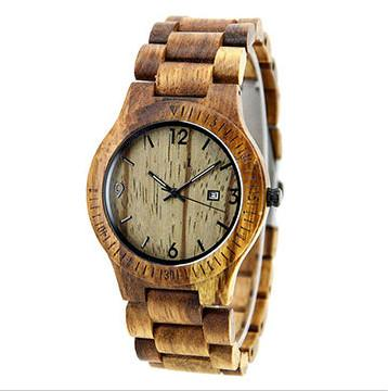 wooden watches GCW086B in France - OEM custom Best selling wooden watches in super thin zebra wood case  from china