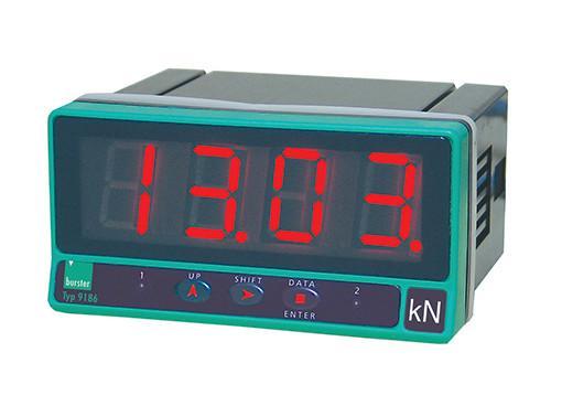 低成本数字显示器- 9186 - 适用于应变传感器进行力,压力或扭矩测量, 便宜的数字显示器, 高度易于阅读的显示屏,高度为20毫米,