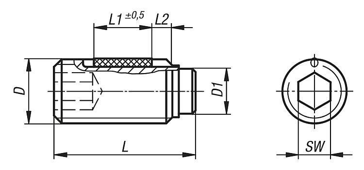Vis HC à embout avec sécurité LONG-LOK - Vis à bille orientable et inserts à picots