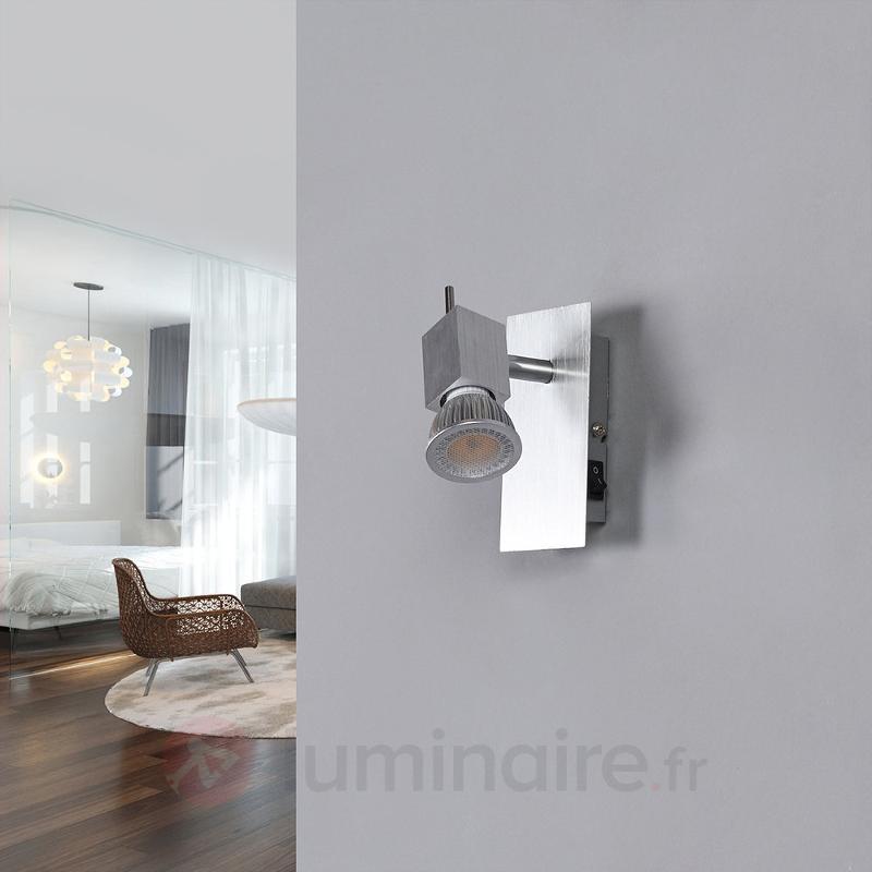 Spot mural Sevina en aluminium brossé - Spots et projecteurs LED
