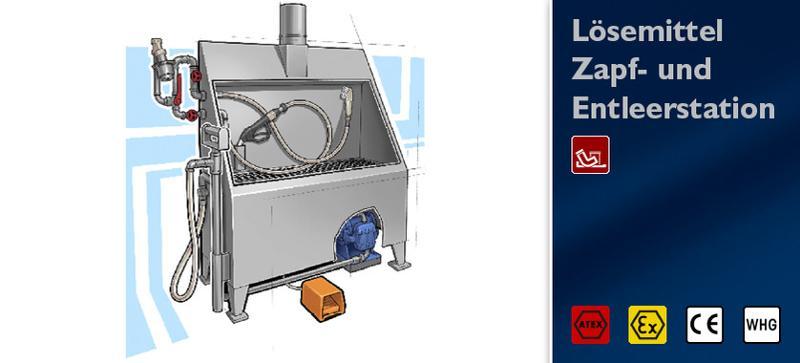 Solvent Dumping/Dispensing station - Solvent Handling