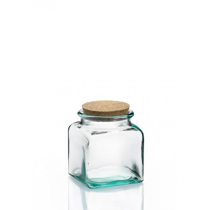6 Bocaux Carrés 250 ml en verre avec bouchon en liège - Pots en verre Carrés