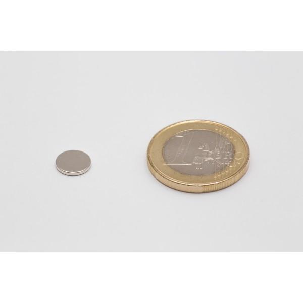 Neodymium disc magnet 8x1mm, N45, Ni-Cu-Ni, Nickel coated - Disc